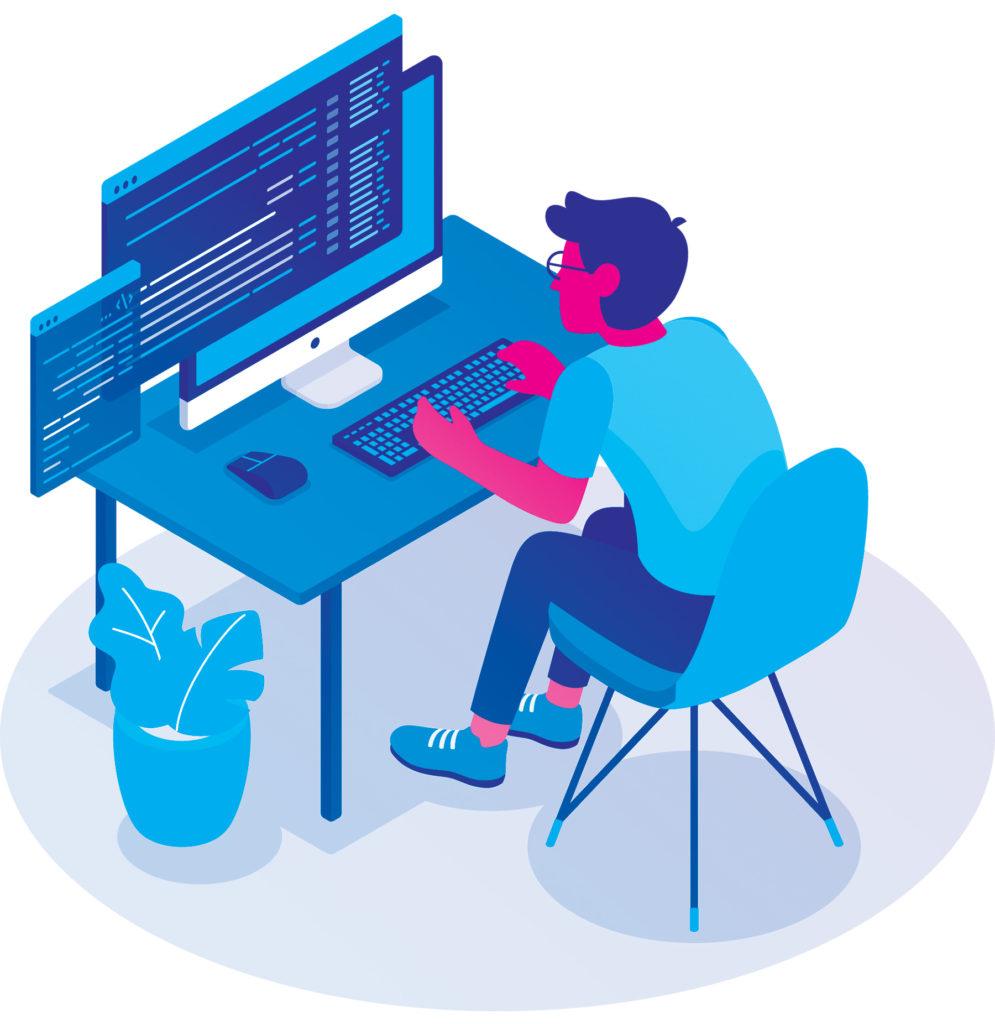développeur travaillant sur un bureau face à ses écrans.