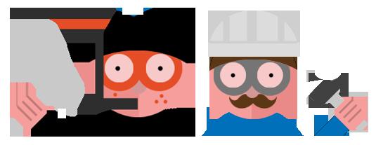 developpeur back end représenté par un plongeur et développeur front-end représenté par un ouvrier